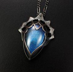 Blue Labradorite cab silver pendant by KAZNESQ on Etsy