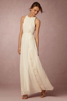 Style BHLDN CHANDLER DRESS  Turn up the sophistication on your honeymoon with this nipped-at-the-waist bohemian maxi.