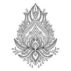 Vektorgrafik : Henna tattoo flower template in Indian style. Ethnic paisley Lotus. Mehr