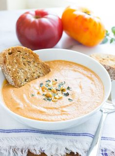 Creamy Eggplant and Tomato Soup- roasted eggplant and tomatoes come together for an irresistible soup that's dairy-free and gluten-free! #vegan #cleaneating