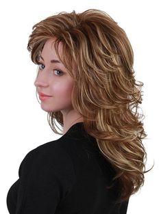 Long Inclined Bang Layered Colormix Slightly Curly Human Hair Wig - Stile di capelli Long Shag Hairstyles, Long Shag Haircut, Feathered Hairstyles, Wig Hairstyles, Medium Layered Hairstyles, Layered Hair With Bangs, Long Layered Hair, Long Hair Cuts, Medium Hair Styles