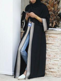 love Modern Abaya, Modern Hijab Fashion, Abaya Fashion, Muslim Fashion, Modest Fashion, Fashion Outfits, Hijab Style Dress, Hijab Chic, Hijab Outfit