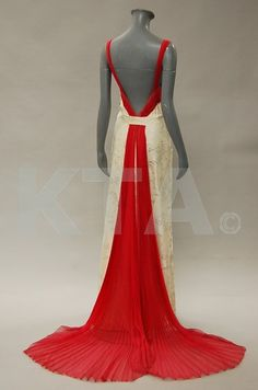 An Anna de Wolkoff ivory damask evening gown, late 1930's.