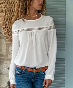 Look at this White Crochet-Insert Crewneck Top - Women Asymmetrical Tops, Back To Black, Amazing Women, Autumn Fashion, Women's Fashion, Bell Sleeve Top, Crew Neck, Feminine, Clothes For Women