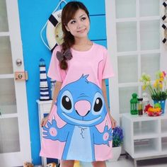 Cartoon Print Short-sleeve Loose Cotton Dress on BuyTrends.com, only price $6.38