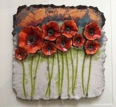 Ceramic Flower Wall Art for 2020 Image poppies ceramics Clay Wall Art, Ceramic Wall Art, Ceramic Clay, Tile Art, Clay Art, Ceramic Poppies, Ceramic Flowers, Clay Flowers, Art Flowers