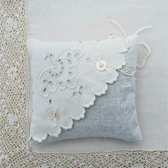 Lavender Sachet Pair Two Vintage Textiles White Linen Eyelet Embroidery Tatting ., Sachet Pair Two Vintage Textiles White Linen Eyelet Embroidery Tatting Flowers:. Doilies Crafts, Fabric Crafts, Sewing Crafts, Sewing Projects, Sewing Pillows, Diy Pillows, Decorative Pillows, Shabby Chic Pillows, Lavender Bags