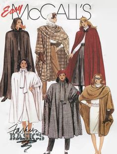 Misses Cape Pattern McCalls 3934 One Size by PengyPatterns Sewing Patterns For Kids, Mccalls Sewing Patterns, Vintage Sewing Patterns, Clothing Patterns, Vintage Outfits, Vintage Fashion, Vintage Clothing, Cape Pattern, 80s And 90s Fashion