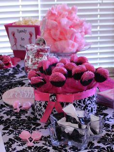 Baby shower oreo pops for baby girl shower, pink and black & white damask, baby shower ideas