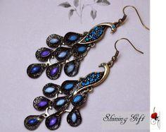 peacock earrings elegant vintage style , blue crystal feather, Dark blue Color
