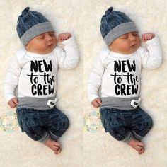 Newborn Kid Baby Boy Girl 3pcs Clothes Jumpsuit Romper Long Pants Hat Outfit Set   eBay