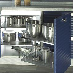 Μηχανισμός κουζίνας Magic corner με φρένο EUROFIT με συρμάτινα καλάθια