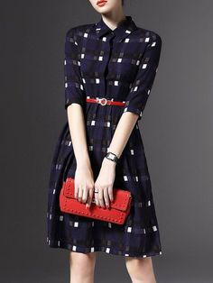 Purplish Blue Belts V neck Long sleeve A-line Buttoned Plaid Midi Dress with Belt Fashion Mode, Modest Fashion, Fashion Dresses, Womens Fashion, V Neck Midi Dress, Dress Skirt, Dress Up, Plaid Dress, Shirt Dress
