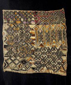 Africa | Kuba cloth from the Shoowa people of DR Congo | Cut pile raffia cloth