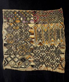 Africa | Kuba cloth from the Shoowa people of DR Congo | Cut pile raffia cloth
