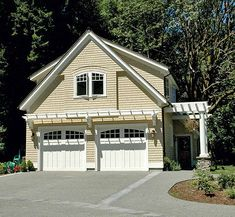 carriage style garage doors and attached pergolas