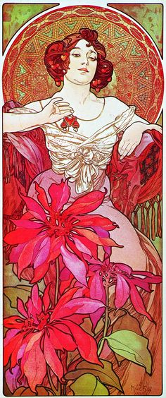 "Precious stone series ""Le Rubis"" by Alphonse Mucha (Czech, 1860 - Art Nouveau Art Nouveau Mucha, Alphonse Mucha Art, Art Nouveau Poster, Art Nouveau Design, Art And Illustration, Illustrations Posters, Illustrator, Jugendstil Design, Kunst Poster"