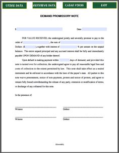 Free Printable Promissory Note Demand Legal Forms Free Legal