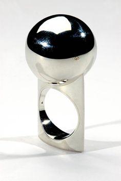 Gaál Gyöngyvér - ball ring silver hight:48mm 2006