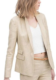 Womens-Casual-OL-Blazer-One-Button-Lapel-Cotton-Linen-Jacket-Coat-Outerwear
