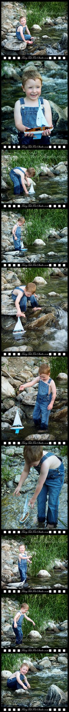 Boy Playing with His Toy Sailboat in a Stream Summer 4 Year Old Outdoor Photo Shoot | Portrait Pose | Photography | Cute Kid Pic | Children | Child | ~Bountiful Utah Photographer