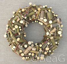 Wreath made from branch clippings glued to a painted styrofoam wreath form. The best...