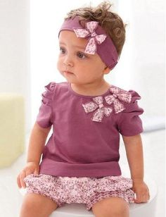 3pcs Kids Children Baby Girl Infant Top Pant Headband Outfit Set Clothing 0-36M