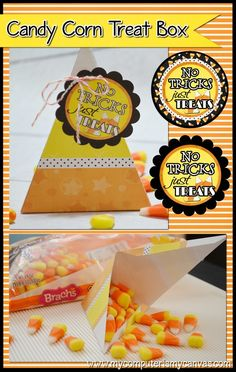 Printable Halloween Candy Corn Treat Boxes - the circle tags are also perfect for cupcake toppers or mason jar lid toppers! #mycomputerismycanvas