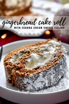 Gingerbread Cake Roll with Eggnog Cream Cheese Filling: This moist cake roll has the signature gingerbread flavor with the addition of a rich and tangy eggnog cream cheese filling. A perfect addition to your holiday table, or fuel for a Chri Köstliche Desserts, Holiday Baking, Christmas Desserts, Christmas Baking, Delicious Desserts, Christmas Foods, Christmas Cupcakes, Holiday Cakes, Cake Roll Recipes