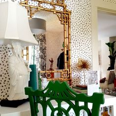 Gilded Pagoda mirror + Chippendale desk chair. Wallpaper is a nice touch  (substitute Celerie Kemble Icanthus?)