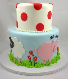 Fresno wedding cakes, cupcakes, cake pops, birthday cakes | Whimsical Farm Animal Cake | Frosted Cakery