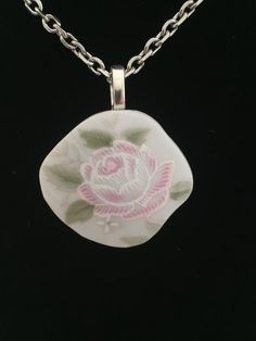 Exquisite Small Pink Rose Broken China Necklace by SimpleEleganceCole on Etsy