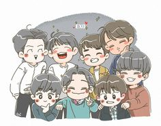 Exo Kokobop, Kpop Exo, Exo Cartoon, Exo Stickers, Exo Anime, Exo Fan Art, Love Doodles, Kpop Fanart, Cute Chibi