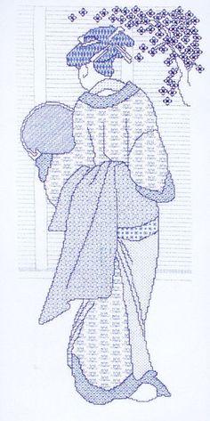 japanese lady blackwork