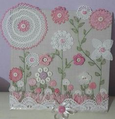 Buttons lace and doilies Crochet Wall Art, Crochet Pillow, Crochet Home, Crochet Crafts, Crochet Projects, Sewing Crafts, Sewing Projects, Framed Doilies, Lace Doilies