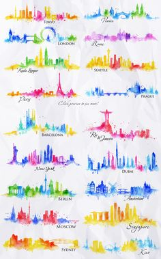 Buy Watercolor Cities Silhouettes by on GraphicRiver. Watercolor cities silhouettes with splashes of drops streaks landmarks. Tattoo Silhouette, Skyline Silhouette, Silhouette City, Watercolor City, Photo Deco, Travel Maps, Art Drawings, Art Projects, Lettering