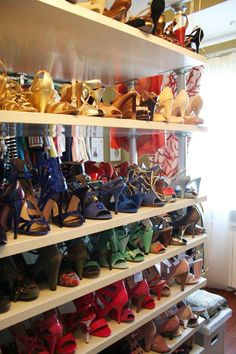 Made By Girl blog.  Oh to have my shoes neatly organized by colors!