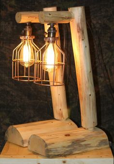 Rustic Log Lamp  w/ Edison bulb - Lodge, Western, Vintage, Log Cabin Furniture #Handmade