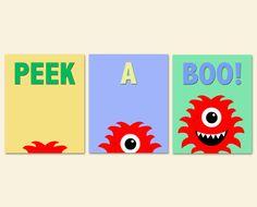 Monster Nursery Art, Kids Bedroom Decor, Monster Art Prints, Kids Art, Nursery Decor, Set of Three 8x10 Prints Peek A Boo on Etsy, $39.85