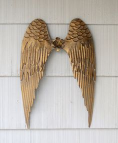 Metal Angel Wings Wall Decor large metal angel wings wall decor, distressed silver, white