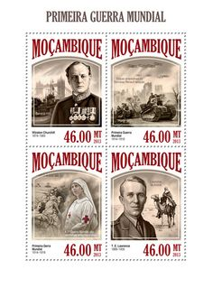 MOZ 13407 aWorld War I, (Winston Churchill, T. E. Lawrence, Ship U 155, American troops in the French Renault tanks, Red Cross Nurse).