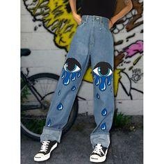 Painted Jeans, Painted Clothes, Vintage Jeans, Preppy Style, Fashion Prints, Streetwear Fashion, Diy Clothes, Boyfriend Jeans, Bunt