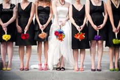 Bridesmaids, individual black dresses.