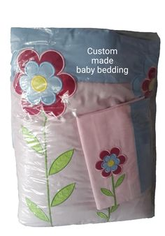 Applique flower baby comforter & pillow case! Pink and blue