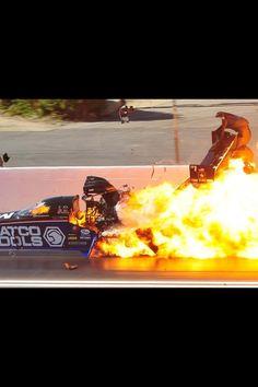 Antron Brown's fiery crash