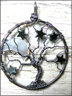 Gunmetal Crescent Moon and Stars Tree of Life Pendant Wire Wrapped Hematite Night Sky. This ROCKS!!