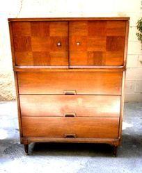 Mid Century Modern Highboy Dresser Dark/ Red Wood *Delivery -  $185