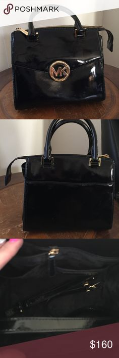 Michael kors Hudson authentic This is a Michael kors Hudson medium sized patent leather Hudson. Carried a short time in great shape no flaws stains damages or rips.  It is a beautiful bag very compact and cute to carry but will store your needs.  Very classy and nice addition!! Michael Kors Bags Satchels