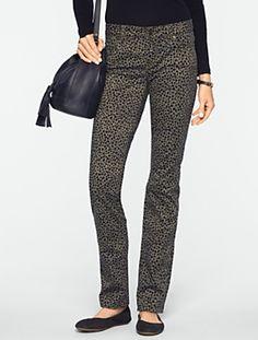 Talbots - Slimming Signature Straight-Leg Snow Leopard Jeans | New Arrivals | Misses