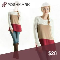 NWT Fashionomics Sweaters Beautiful Sweater perfect for Fall transition into Holiday Season in White, Tan and Burgundy colors. Long sleeve color block Tunic.  67% Polyester, 28% Rayon and 5% Spandex.  Made in the USA.  NWT!!! Fashionomics Sweaters